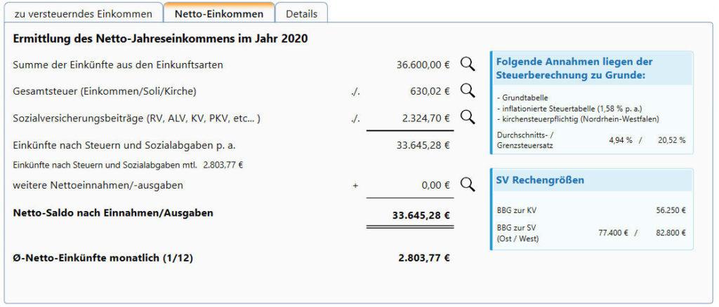 konkrete Berechnung BU-Rente Steuern