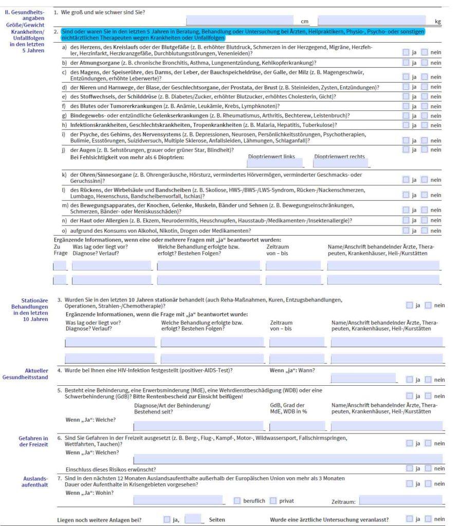 Gesundheitsfragen AXA DBV 012020 Berufsunfähigkeitsversicherung